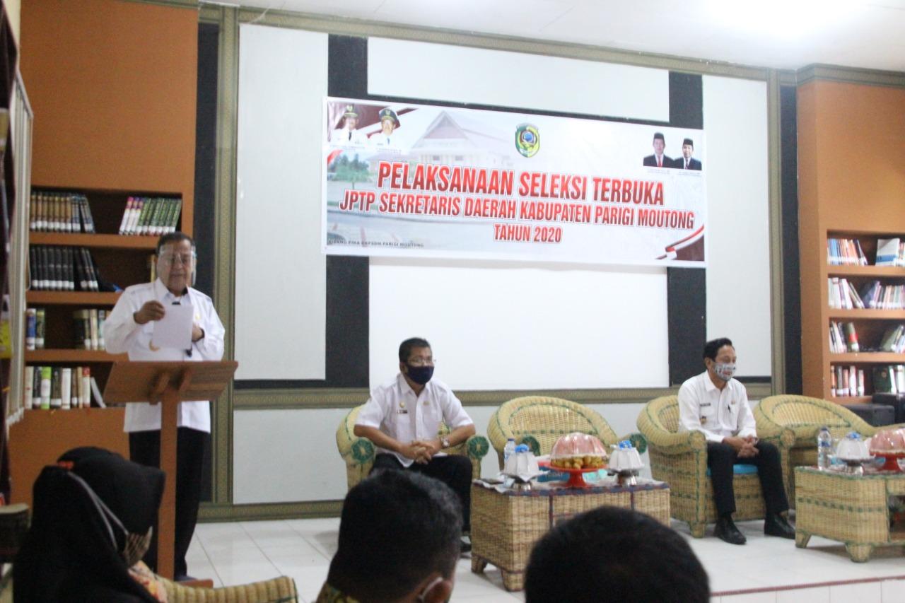 Wakil Bupati Parigi Moutong H,Badrun Nggai,SE. membuka secara resmi pelaksanaan seleksi uji kompetensi manajerial seleksi terbuka Jabatan Pimpinan Tinggi Pratama (JPTP)